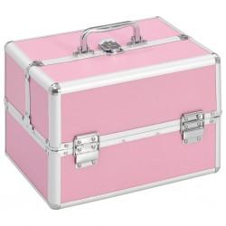 stradeXL Kuferek na kosmetyki, 22 x 30 x 21 cm, różowy, aluminiowy