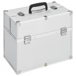 stradeXL Kuferek na kosmetyki, 37 x 24 x 35 cm, srebrny, aluminiowy