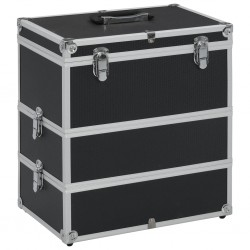 stradeXL Kuferek na kosmetyki, 37 x 24 x 40 cm, czarny, aluminiowy