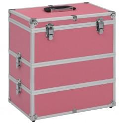 stradeXL Kuferek na kosmetyki, 37 x 24 x 40 cm, różowy, aluminiowy