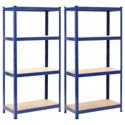 stradeXL Regały magazynowe, 2 szt., niebieskie, 80x40x160 cm, stal i MDF