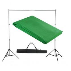 stradeXL System zawieszenia tła z zielonym tłem 300 x 300 cm