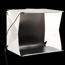 stradeXL Składany lightbox studyjny z LED, 40x34x37 cm, plastik, biały