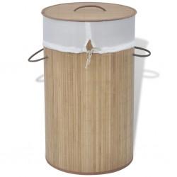 stradeXL Bambusowy kosz na pranie - okrągły, naturalny kolor