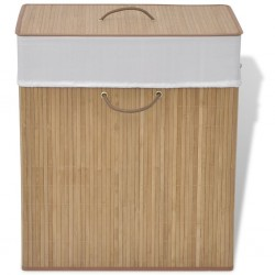 stradeXL Bambusowy kosz na pranie, prostokątny, naturalny kolor