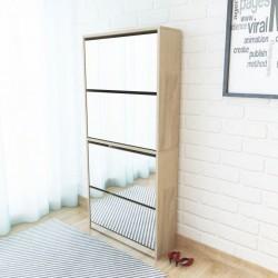 stradeXL Szafka na buty 4-poziomowa, lustrzana, kolor dębu, 63x17x134 cm