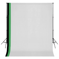 stradeXL Photo Studio Kit with 3 Cotton Backdrops Adjustable Frame 3x3m