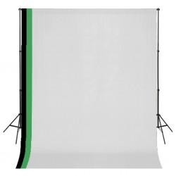 stradeXL Zestaw fotograficzny z 3 tłami z bawełny i ramą, 3 x 3 m