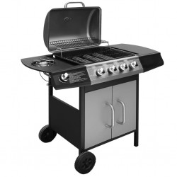 stradeXL Gas Barbecue Grill 4+1 Cooking Zone Black and Silver