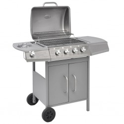 stradeXL Gas Barbecue Grill 4+1 Cooking Zone Silver