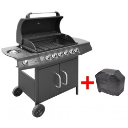 stradeXL Gas Barbecue Grill 6+1 Cooking Zone Black