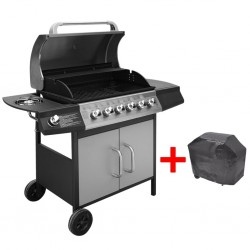 stradeXL Gas Barbecue Grill 6+1 Cooking Zone Black and Silver