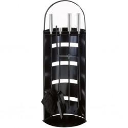 Home&Styling Zestaw narzędzi kominkowych, metalowy, czarny
