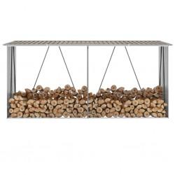 stradeXL Wiata na drewno, stal galwanizowana, 330 x 84 x 152 cm, brązowa