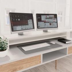 stradeXL Podstawka pod monitor, biała, 100x24x13 cm, płyta wiórowa