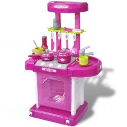 Kuchnia dla dzieci ze światłem i dźwiękiem, różowa