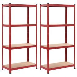 stradeXL Regały magazynowe, 2 szt., czerwone, 80x40x160 cm, stal i MDF