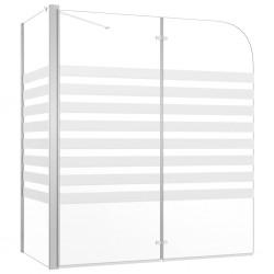 stradeXL Parawan na wannę, 120x68x130 cm, szkło hartowane, w paski