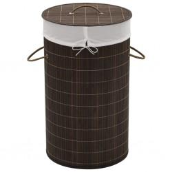 stradeXL Bamboo Laundry Bin Round Dark Brown