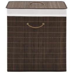 stradeXL Bamboo Laundry Bin Rectangular Dark Brown