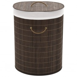 stradeXL Bamboo Laundry Bin Oval Dark Brown