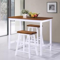 stradeXL Stolik i krzesła barowe, 3 elementy, drewno