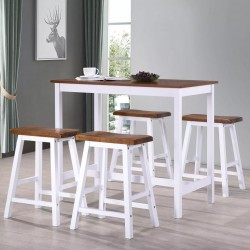 stradeXL Stół barowy i taborety z litego drewna, 5 elementów