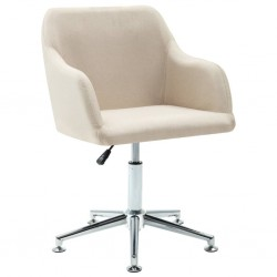 stradeXL Obrotowe krzesło biurowe, kremowe, tkanina