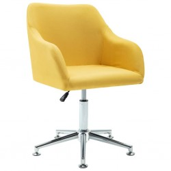 stradeXL Obrotowe krzesło biurowe, żółte, tkanina