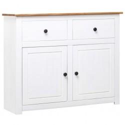 stradeXL Szafka, biała, 93x40x80 cm, lite drewno sosnowe, seria Panama