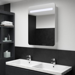 stradeXL Szafka łazienkowa z lustrem i LED, 60 x 11 x 80 cm