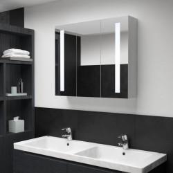stradeXL Szafka łazienkowa z lustrem i LED, 89 x 14 x 62 cm