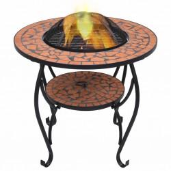 stradeXL Mozaikowe palenisko ze stolikiem, terakota, 68 cm, ceramika