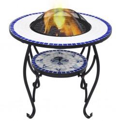 stradeXL Mozaikowe palenisko ze stolikiem, niebiesko-białe, 68 cm