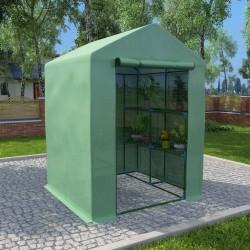 stradeXL Greenhouse with Shelves Steel 143x143x195 cm