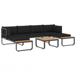 stradeXL 4-cz., narożny zestaw wypoczynkowy, poduszki, aluminium i WPC