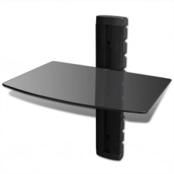 stradeXL Szklana półka na DVD, do montażu na ścianie, czarna
