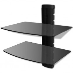 stradeXL Szklana półka na DVD, 2 poziomy, do montażu na ścianie, czarna