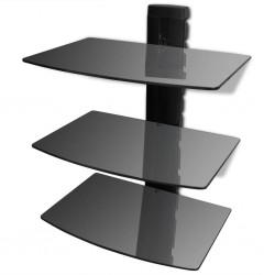stradeXL Półka ścienna na DVD, 3 poziomy, szklana, czarna