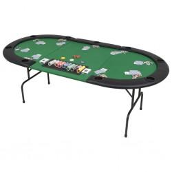 stradeXL Składany, owalny stół do pokera dla 9 graczy, zielony