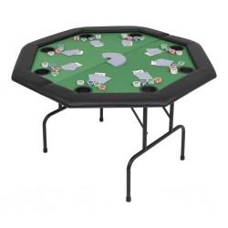 stradeXL Składany stół do pokera dla 8 graczy, ośmiokątny, zielony