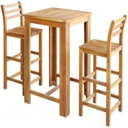 stradeXL Stolik i krzesła barowe, 3 elementy, lite drewno akacjowe