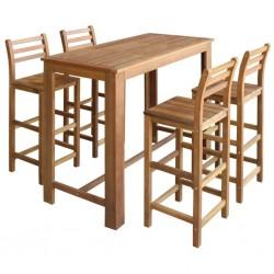 stradeXL Stolik i krzesła barowe, 5 elementów, lite drewno akacjowe