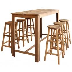stradeXL Stolik i stołki barowe,7 elementów, lite drewno akacjowe