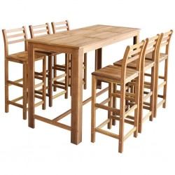 stradeXL Stolik i krzesła barowe, 7 elementów, lite drewno akacjowe
