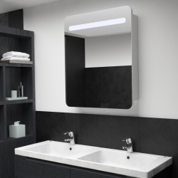 stradeXL Szafka łazienkowa z lustrem i LED, 68 x 9 x 80 cm