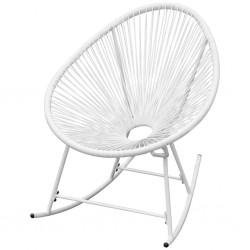 stradeXL Ogrodowy fotel bujany, biały, rattan PE