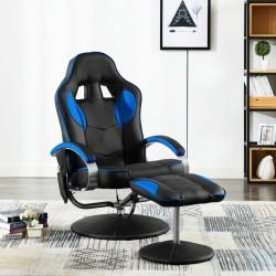 stradeXL Fotel masujący z podnóżkiem, niebieski, sztuczna skóra