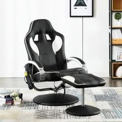 stradeXL Fotel masujący z podnóżkiem, biały, sztuczna skóra