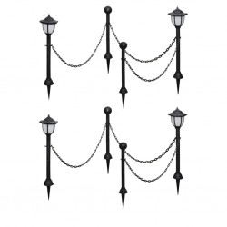 stradeXL Solar Lights 4 pcs with Chain Fence and Poles